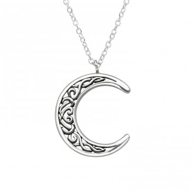 Moon - 925 Sterling Silver Necklace without stones A4S39512