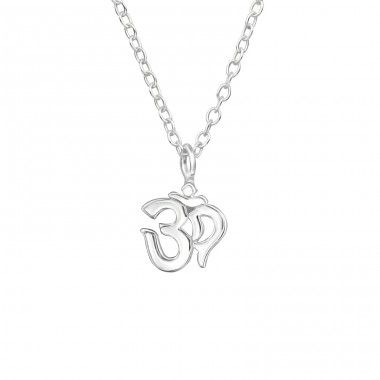 Om Symbol - 925 Sterling Silver Necklace without stones A4S39551
