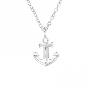 Anchor - 925 Sterling Silver Necklace without stones A4S39559
