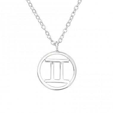 Gemini Zodiac Sign - 925 Sterling Silver Necklace without stones A4S39586