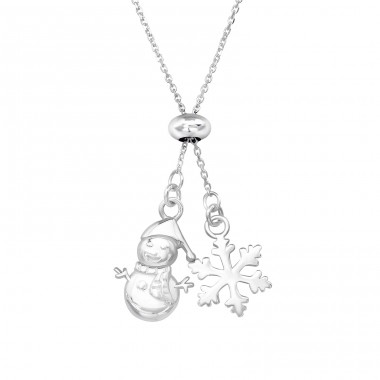 Snowflake & Snowman - 925 Sterling Silver Necklace without stones A4S39622