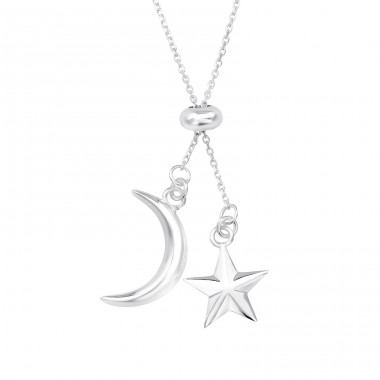 Moon & Star - 925 Sterling Silver Necklace without stones A4S39623