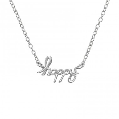 """happy"" - 925 Sterling Silver Necklace Without Stones A4S39714"