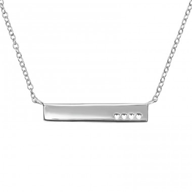 Bar With 4 Hearts - 925 Sterling Silver Necklace Without Stones A4S39715