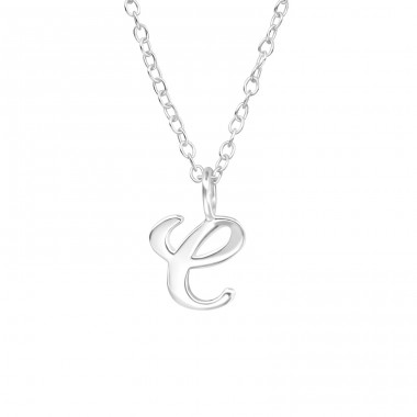 """e"" letter - 925 Sterling Silver Necklace Without Stones A4S39787"