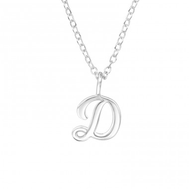 """D"" Letter - 925 Sterling Silver Necklace Without Stones A4S39788"