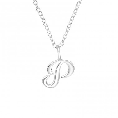 """P"" letter - 925 Sterling Silver Necklace Without Stones A4S39789"