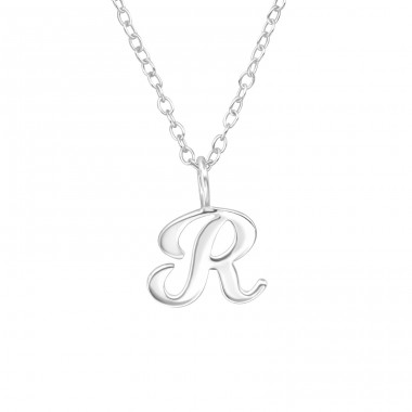 """R"" letter - 925 Sterling Silver Necklace Without Stones A4S39790"