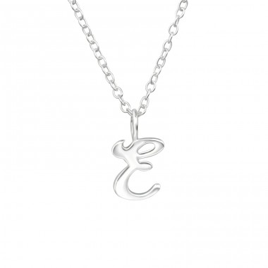 """E"" letter - 925 Sterling Silver Necklace Without Stones A4S39791"