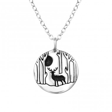 Deer - 925 Sterling Silver Necklace without stones A4S39805