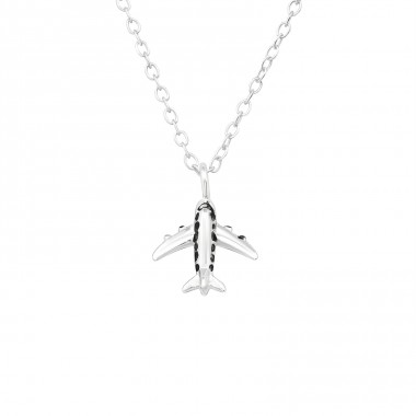 Airplane - 925 Sterling Silver Necklace Without Stones A4S39885