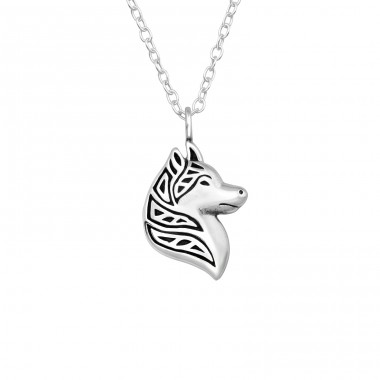 Wolf - 925 Sterling Silver Necklace without stones A4S40028