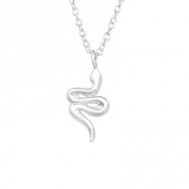 Snake - 925 Sterling Silver Necklace without stones A4S40029