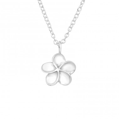 Plumeria Flower - 925 Sterling Silver Necklace without stones A4S40030