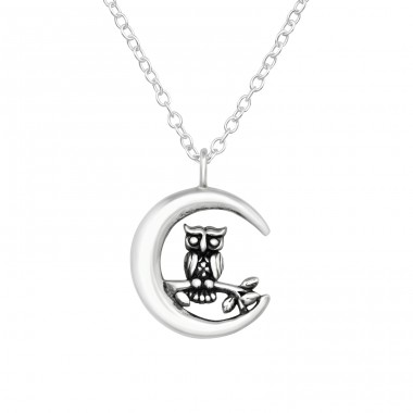 Owl And Moon - 925 Sterling Silver Necklace without stones A4S40032