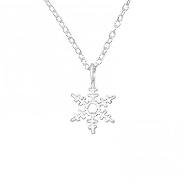 Snowflake - 925 Sterling Silver Necklace without stones A4S40033