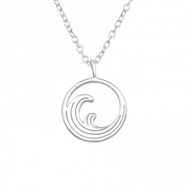 Wave - 925 Sterling Silver Necklace without stones A4S40051