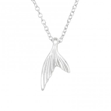 Whale's Tail - 925 Sterling Silver Necklace without stones A4S40409