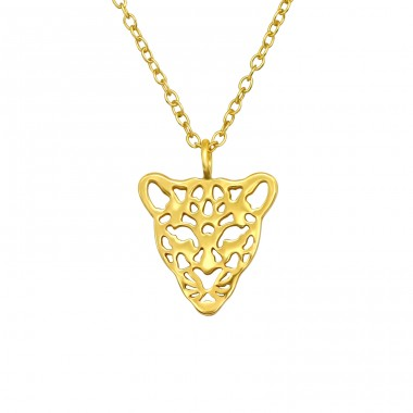 Goldplated Leopard - 925 Sterling Silver Necklace Without Stones A4S40414