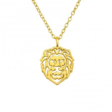 Goldplated Lion - 925 Sterling Silver Necklace Without Stones A4S40415
