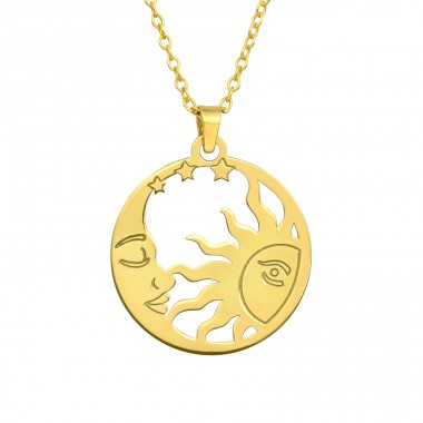 Golden Moon & Sun - 925 Sterling Silver Necklace Without Stones A4S40481