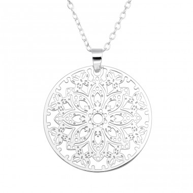 Flower mozaic - 925 Sterling Silver Necklace Without Stones A4S40482