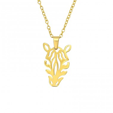 Golden Zebra - 925 Sterling Silver Necklace Without Stones A4S40483