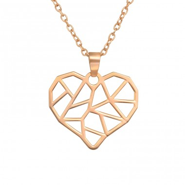 Rosegold Heart - 925 Sterling Silver Necklace Without Stones A4S40485