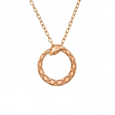 Rosegold Snake - 925 Sterling Silver Necklace Without Stones A4S40561