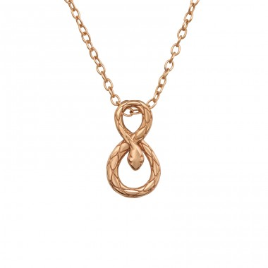 Rosegold infinity Snake - 925 Sterling Silver Necklace Without Stones A4S40565