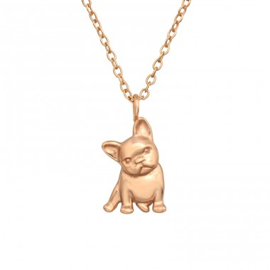 Rosegold French BullDog - 925 Sterling Silver Necklace Without Stones A4S40568