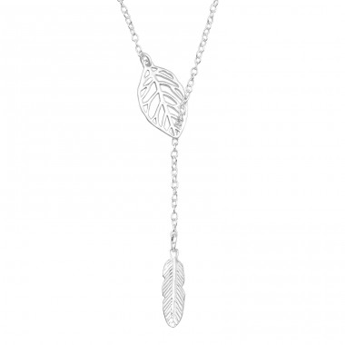 Leaf Feather Y - 925 Sterling Silver Necklace without stones A4S40693