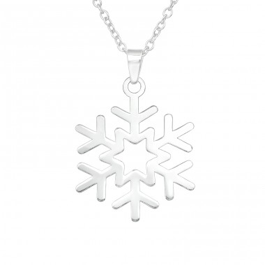 Snowflake - 925 Sterling Silver Necklace without stones A4S40944