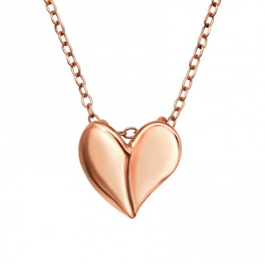 Rosegold Heart - 925 Sterling Silver Necklace Without Stones A4S40948