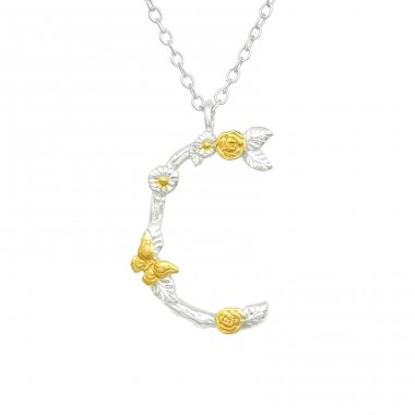 """C"" Letter with flowers - 925 Sterling Silver Necklace Without Stones A4S41001"
