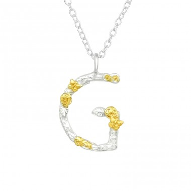 """G"" Letter with flowers - 925 Sterling Silver Necklace Without Stones A4S41003"