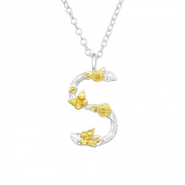 """S"" letter with flowers  - 925 Sterling Silver Necklace Without Stones A4S41006"