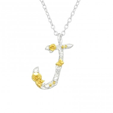 """J"" letter with flowers  - 925 Sterling Silver Necklace Without Stones A4S41009"