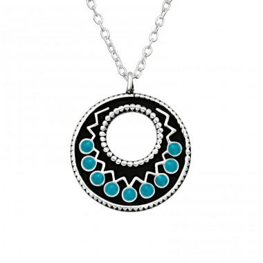 Oxydized Ethnic - 925 Sterling Silver Necklace Without Stones A4S41043