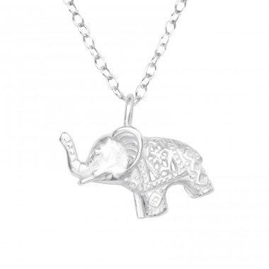 Elephant - 925 Sterling Silver Necklace without stones A4S41095
