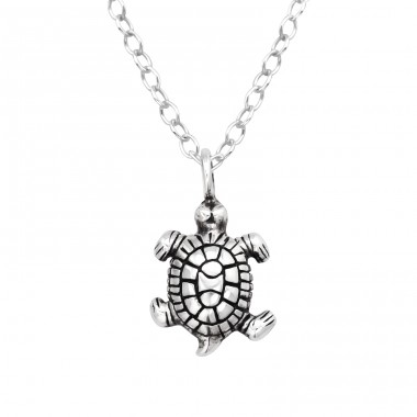 Turtle oxydized - 925 Sterling Silver Necklace Without Stones A4S41572