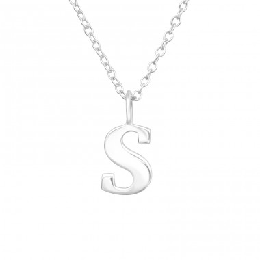 "Letter ""S"" - 925 Sterling Silver Necklace Without Stones A4S41630"