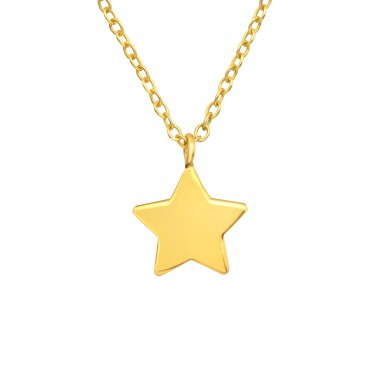 Golden Star - 925 Sterling Silver Necklace Without Stones A4S42164