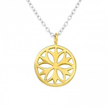 Golden Flower - 925 Sterling Silver Necklace Without Stones A4S42612