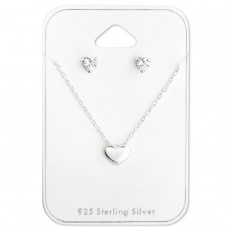 Heart - 925 Sterling Silver Sets Necklace with Earrings A4S28943