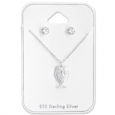 Owl - 925 Sterling Silver Sets Necklace with Earrings A4S28958
