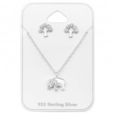 Elephant - 925 Sterling Silver Sets Necklace with Earrings A4S33932