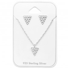 Triangle - 925 Sterling Silver Sets Necklace with Earrings A4S33941