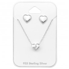 Heart - 925 Sterling Silver Sets Necklace with Earrings A4S33946