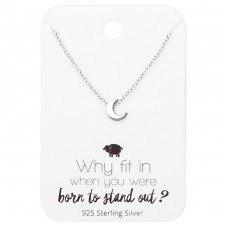 Moon Necklace On Motivational Quote Card - 925 Sterling Silver Sets Necklace with Earrings A4S35908